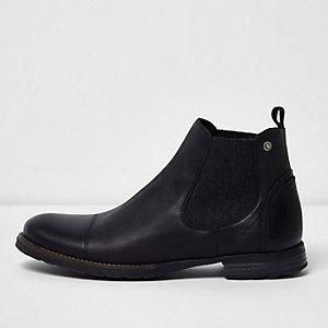 Zwarte leren distressed Chelsea Boots