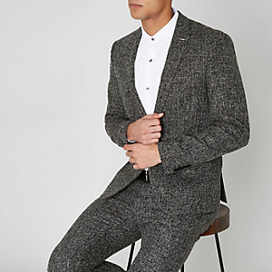 Navy check print skinny suit jacket
