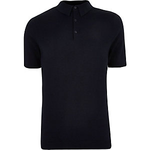 Big and Tall navy knit polo shirt