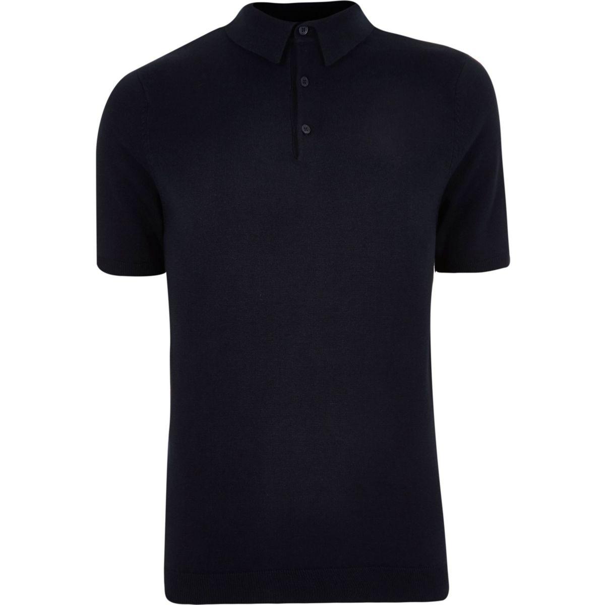 Big and Tall navy knit polo shirt