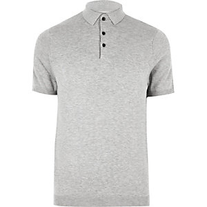 RI Big and Tall - Grijs gebreid poloshirt