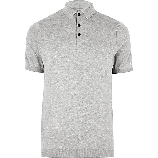 Big and Tall grey knit polo shirt