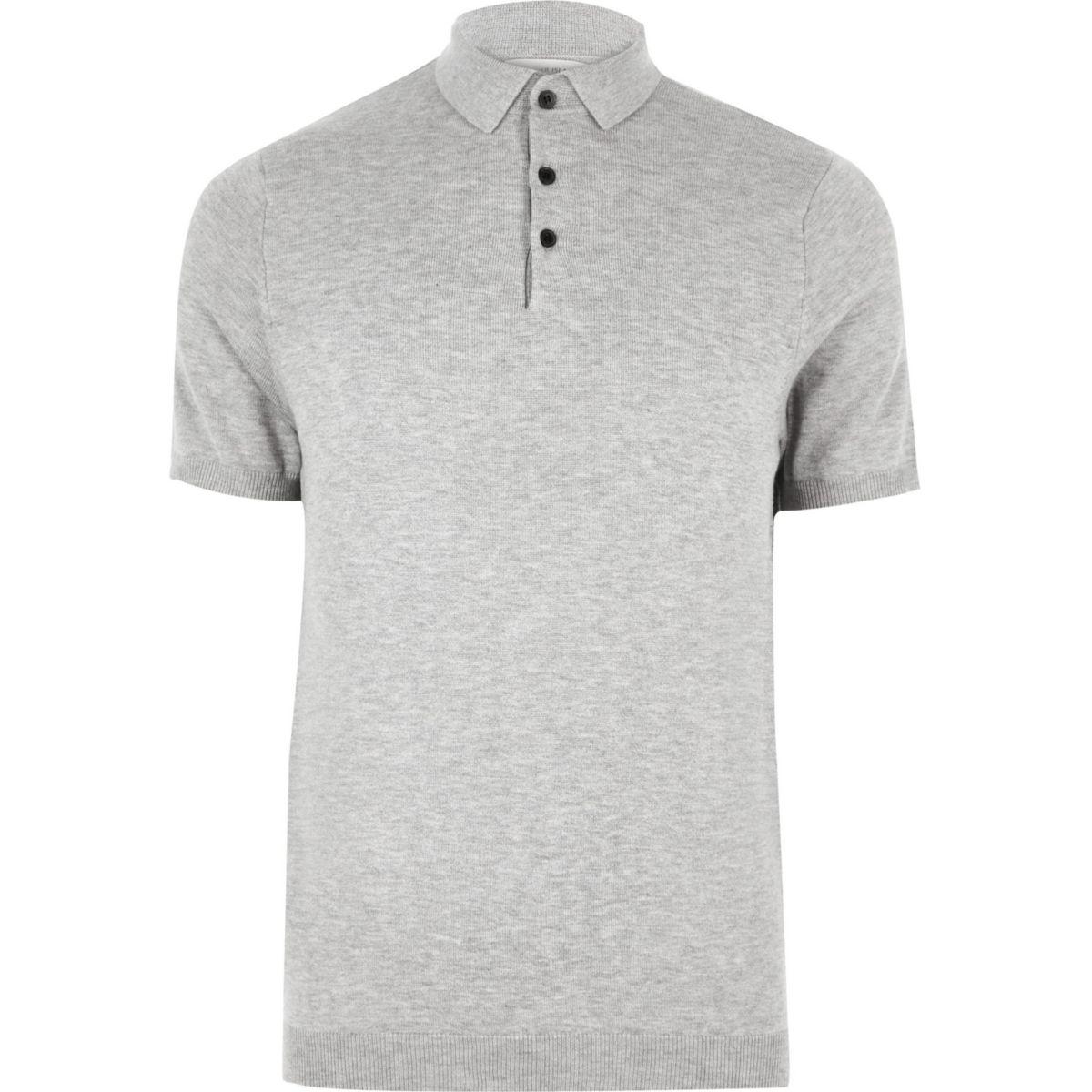 Big and Tall grey knit polo shirt