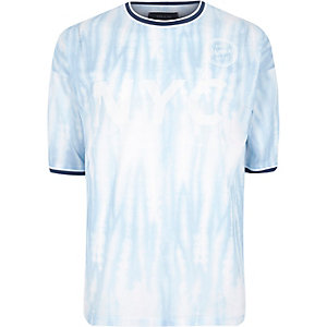 Blue mesh tie dye oversized T-shirt