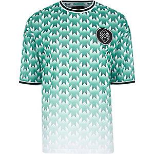 Wit met groen oversized T-shirt met vervaagde geometrische print