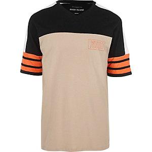 Steingraues Oversized-T-Shirt in Blockfarben