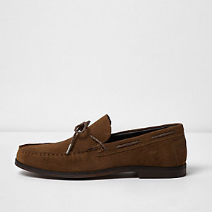 Tan embossed suede loafers