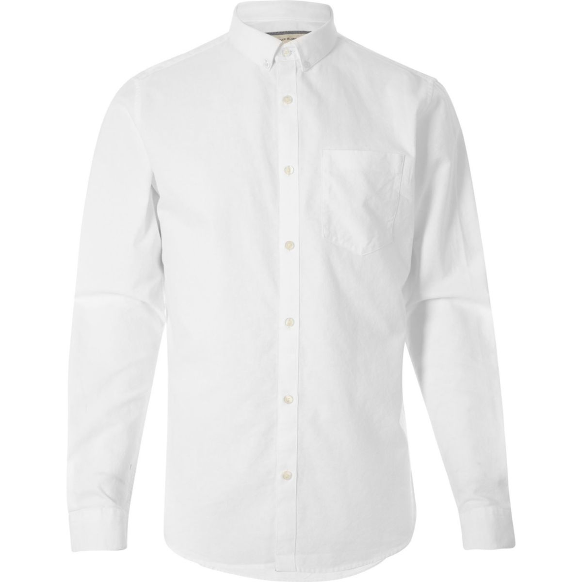 Big and Tall white casual Oxford shirt