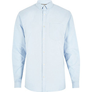 Big and Tall blue casual Oxford shirt