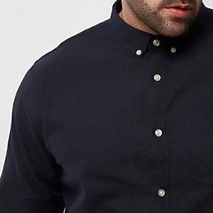 Big and Tall navy casual Oxford shirt