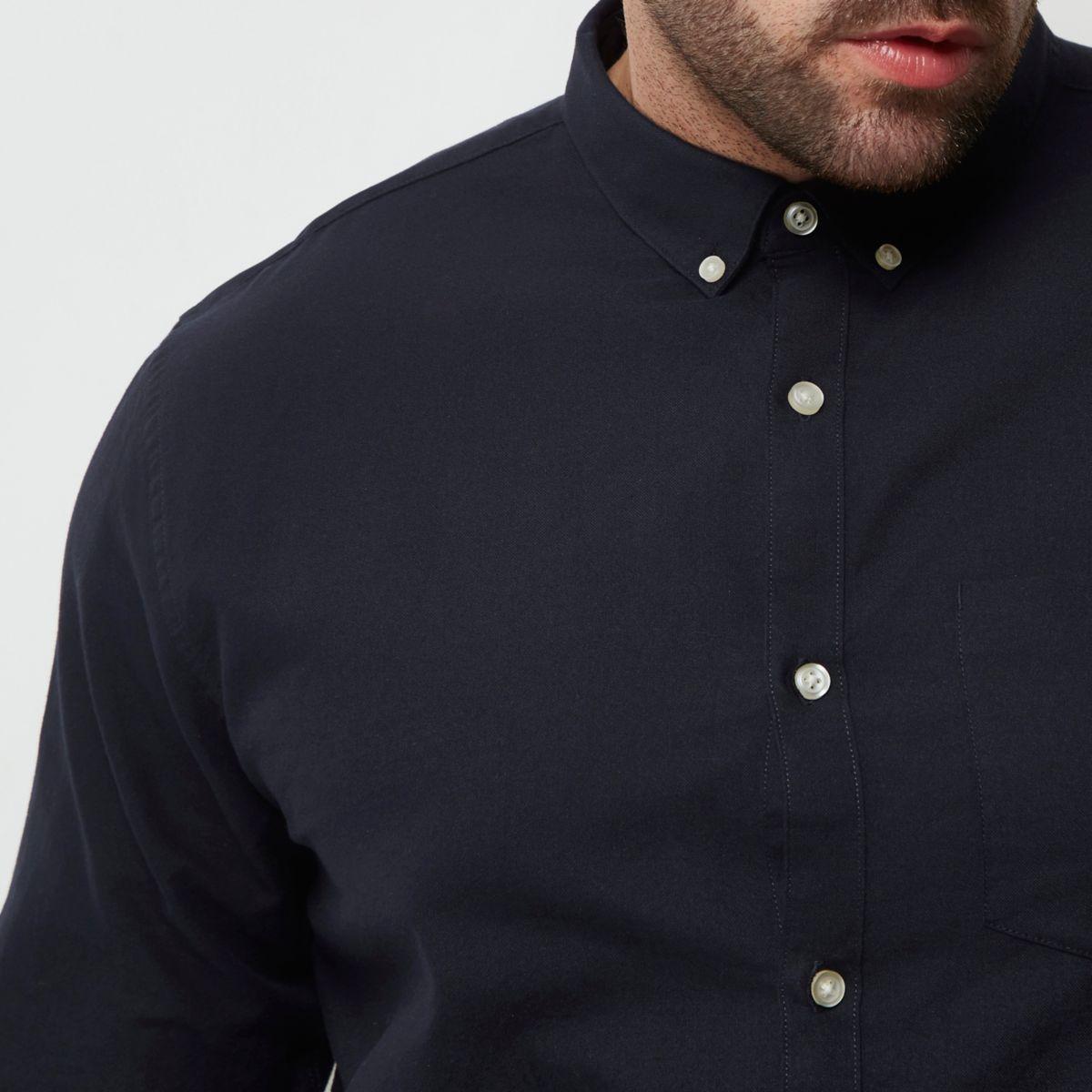 Big and Tall - Oxford marineblauw casual overhemd