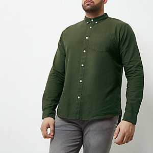Big and Tall khaki green casual Oxford shirt