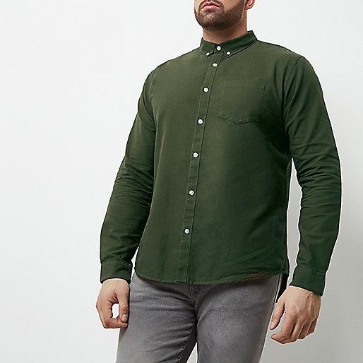 Big and Tall khaki green casual Oxford shirt