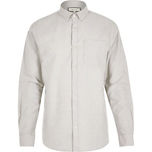 Big and Tall cream casual Oxford shirt