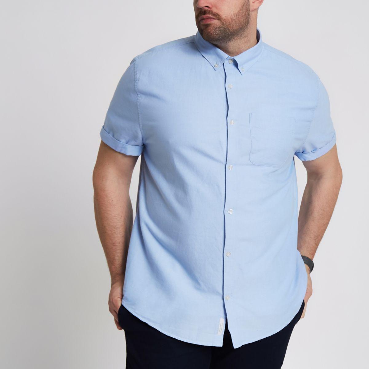 Big & Tall – Blaues, kurzärmliges Oxford-Hemd