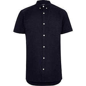 Big and Tall - Oxford marineblauw overhemd met korte mouwen