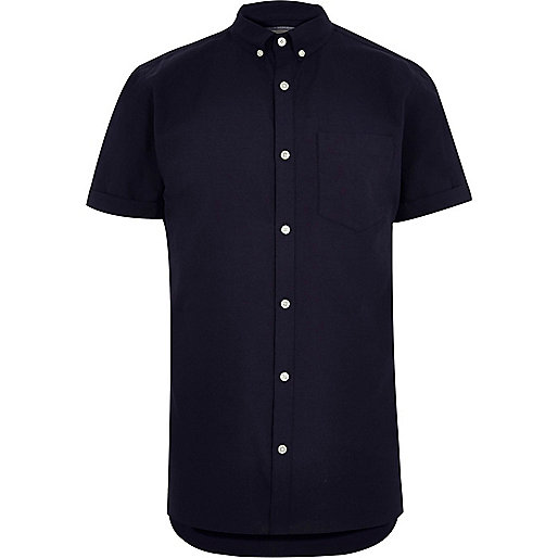 Big and Tall navy short sleeve Oxford shirt