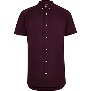 Big and Tall purple short sleeve Oxford shirt