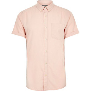 Big and Tall pink short sleeve Oxford shirt
