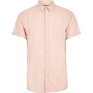 Big and Tall pink short sleeve Oxford shirt
