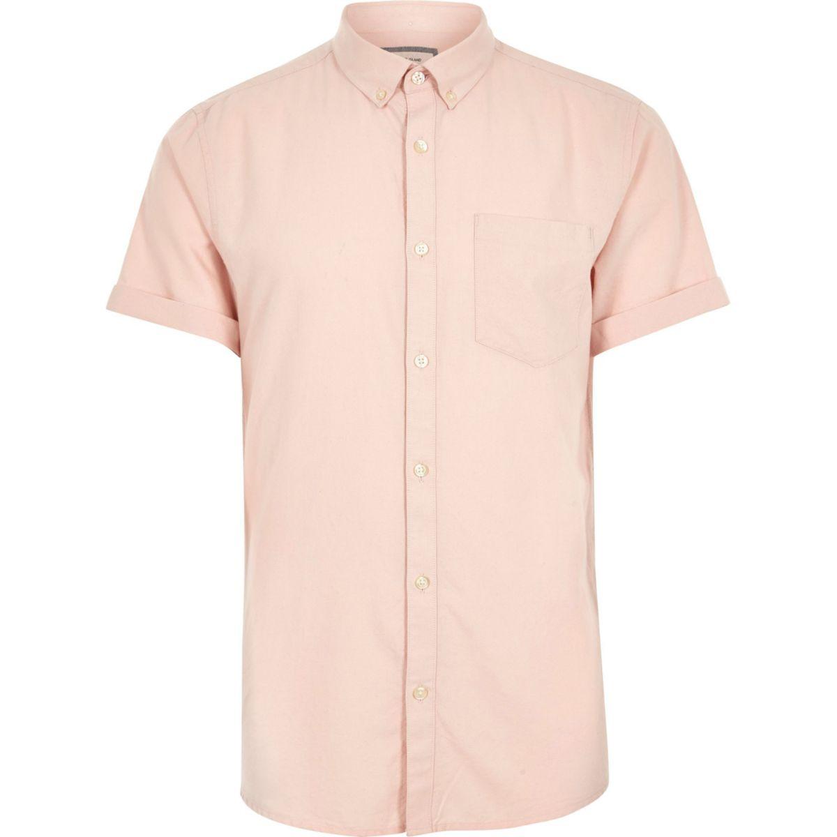 Big and Tall - Oxford roze overhemd met korte mouwen