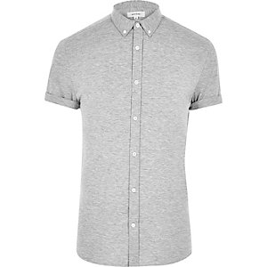 Grey short sleeved casual muscle fit shirt