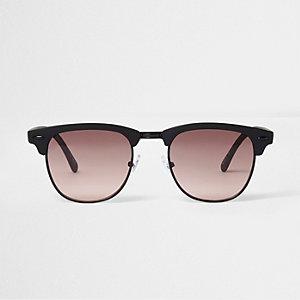Orange rubber half frame retro sunglasses