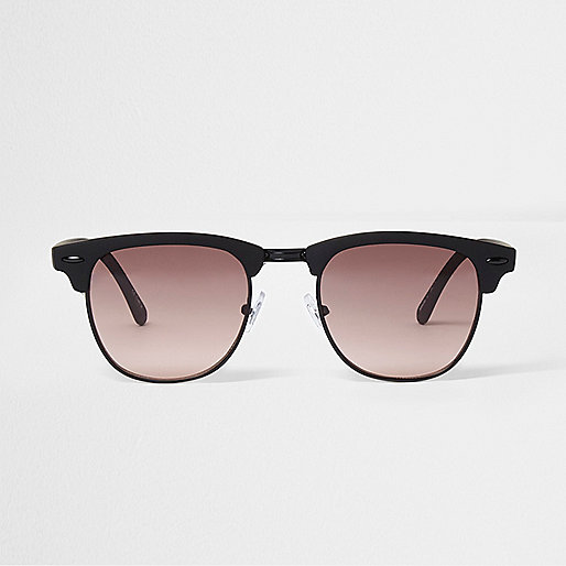 Orange rubber half frame retro sunglasses