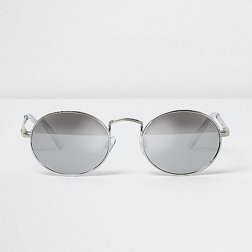 silberne runde sonnenbrille retro sonnenbrillen. Black Bedroom Furniture Sets. Home Design Ideas