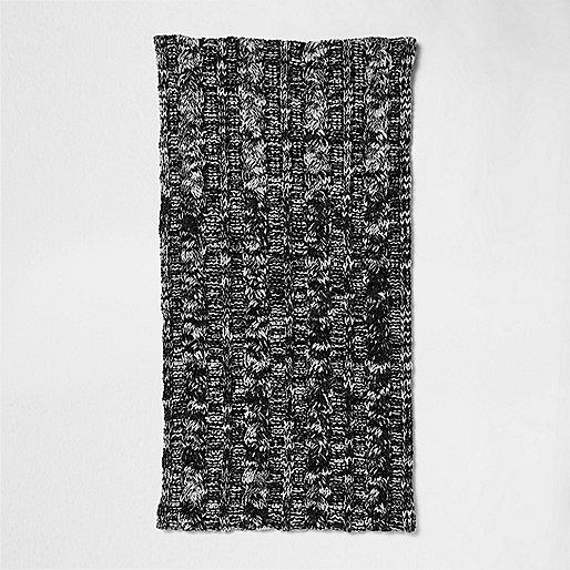 Dark green twist knit snood