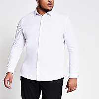 Big and Tall white slim fit smart shirt