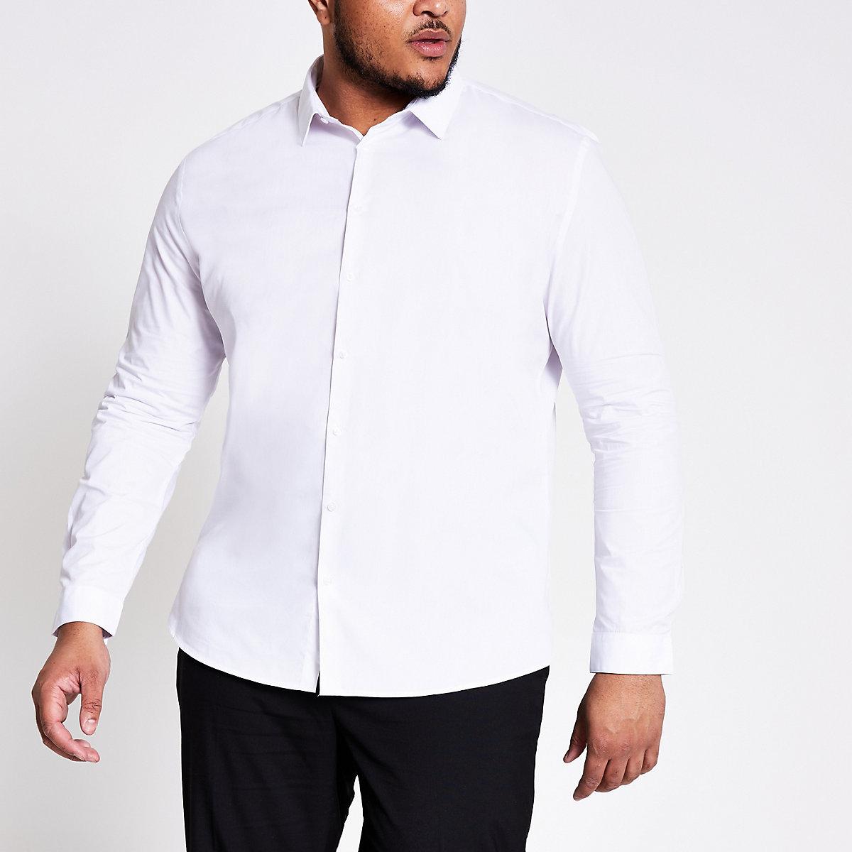 Big & Tall – Weißes, elegantes Slim Fit Hemd