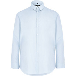 Big and Tall blue slim fit poplin shirt