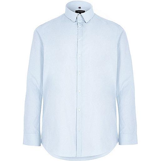 Big and Tall blue slim fit poplin shirt
