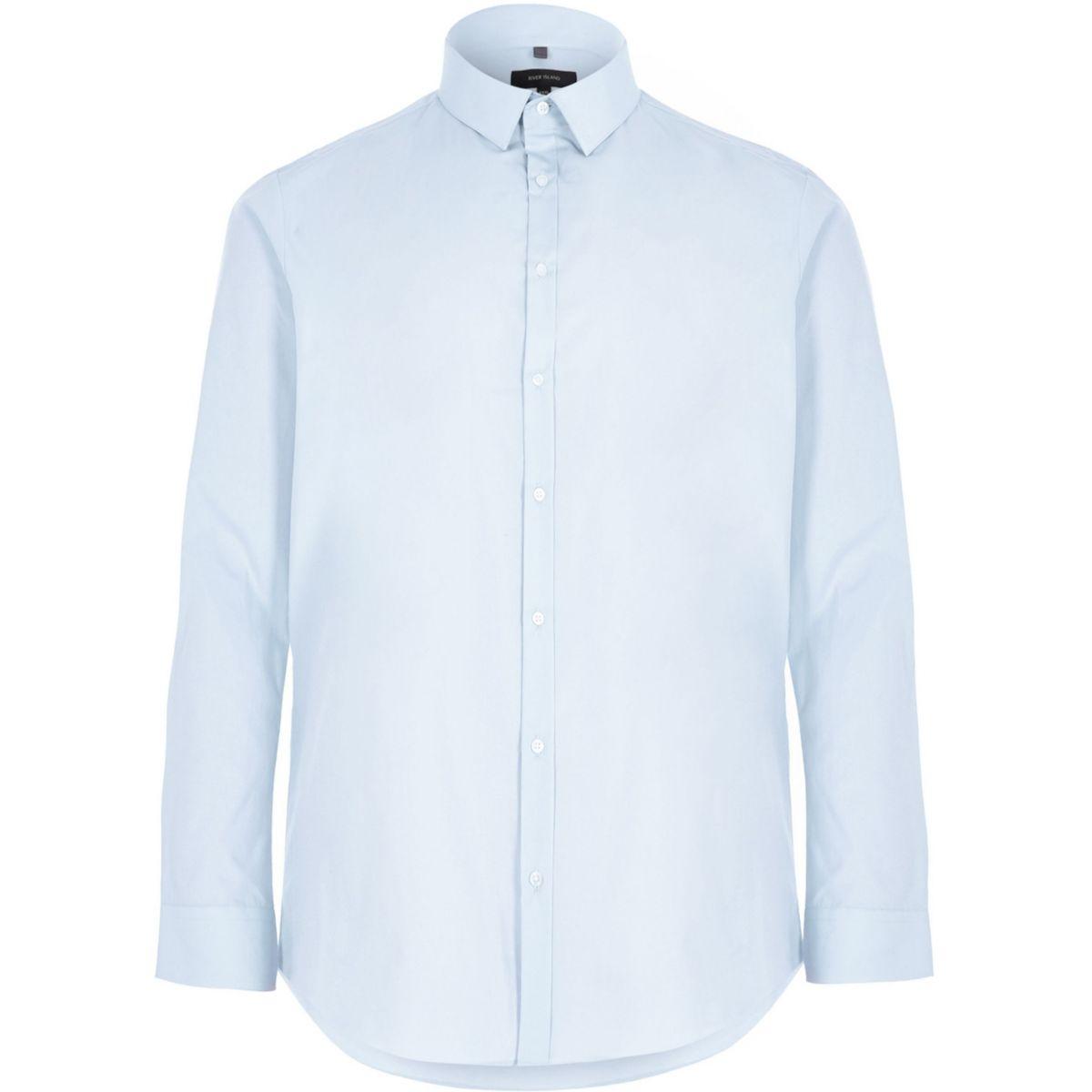 Big & Tall – Blaues, Slim Fit Popelin-Hemd