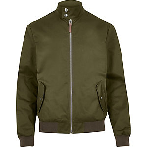 Green casual popper collar bomber jacket