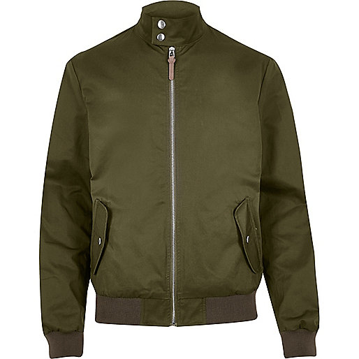 Green casual funnel neck Harrington jacket