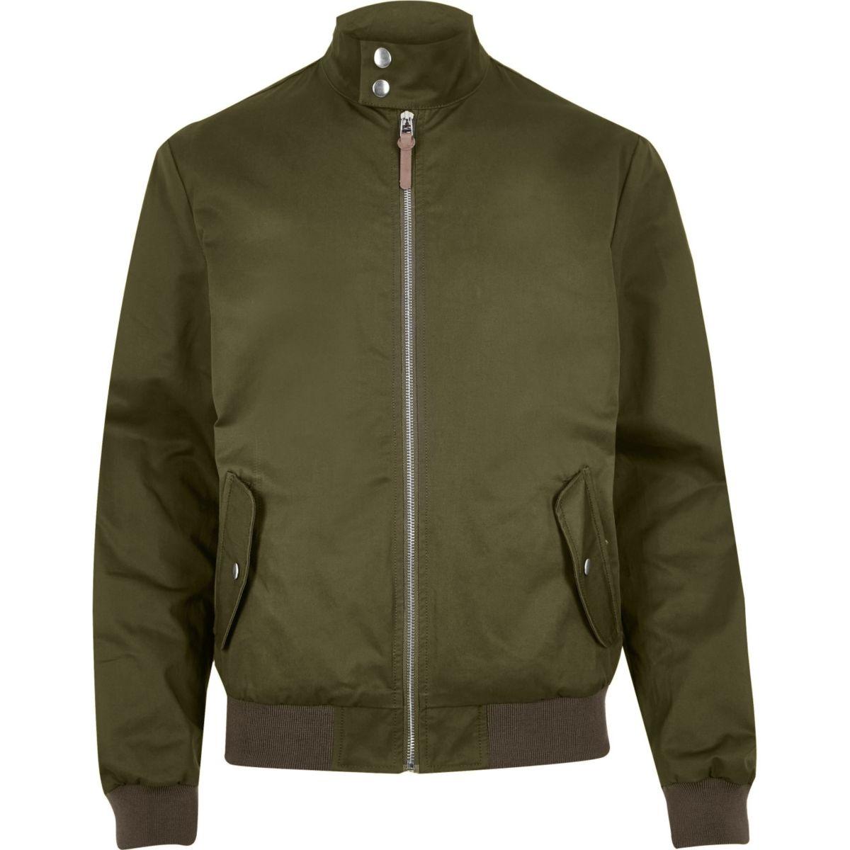 Green casual funnel neck Harrington jacket