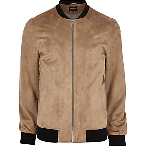 Big and Tall stone faux suede bomber jacket