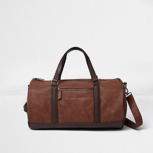 Brown soft faux leather holdall bag