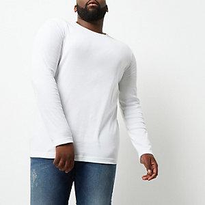 Big & Tall – Weißes Longsleeve