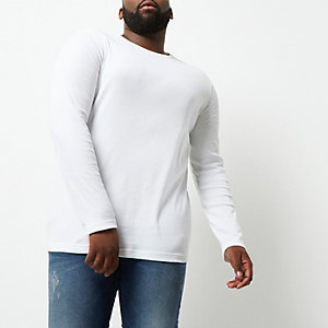 T-shirt Big & Tall blanc à manches longues