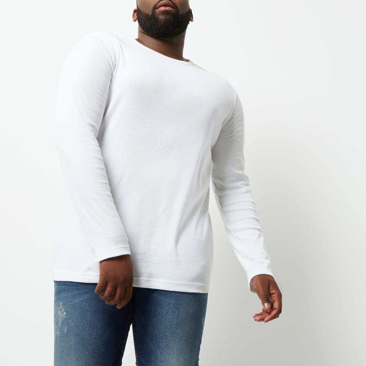 T-shirt Big & Tall blanc à manches longues