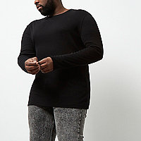 Big and Tall black long sleeve T-shirt