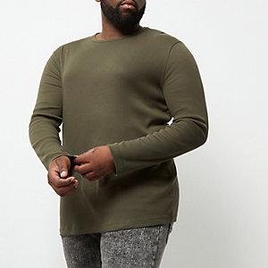 Big and Tall green long sleeve T-shirt