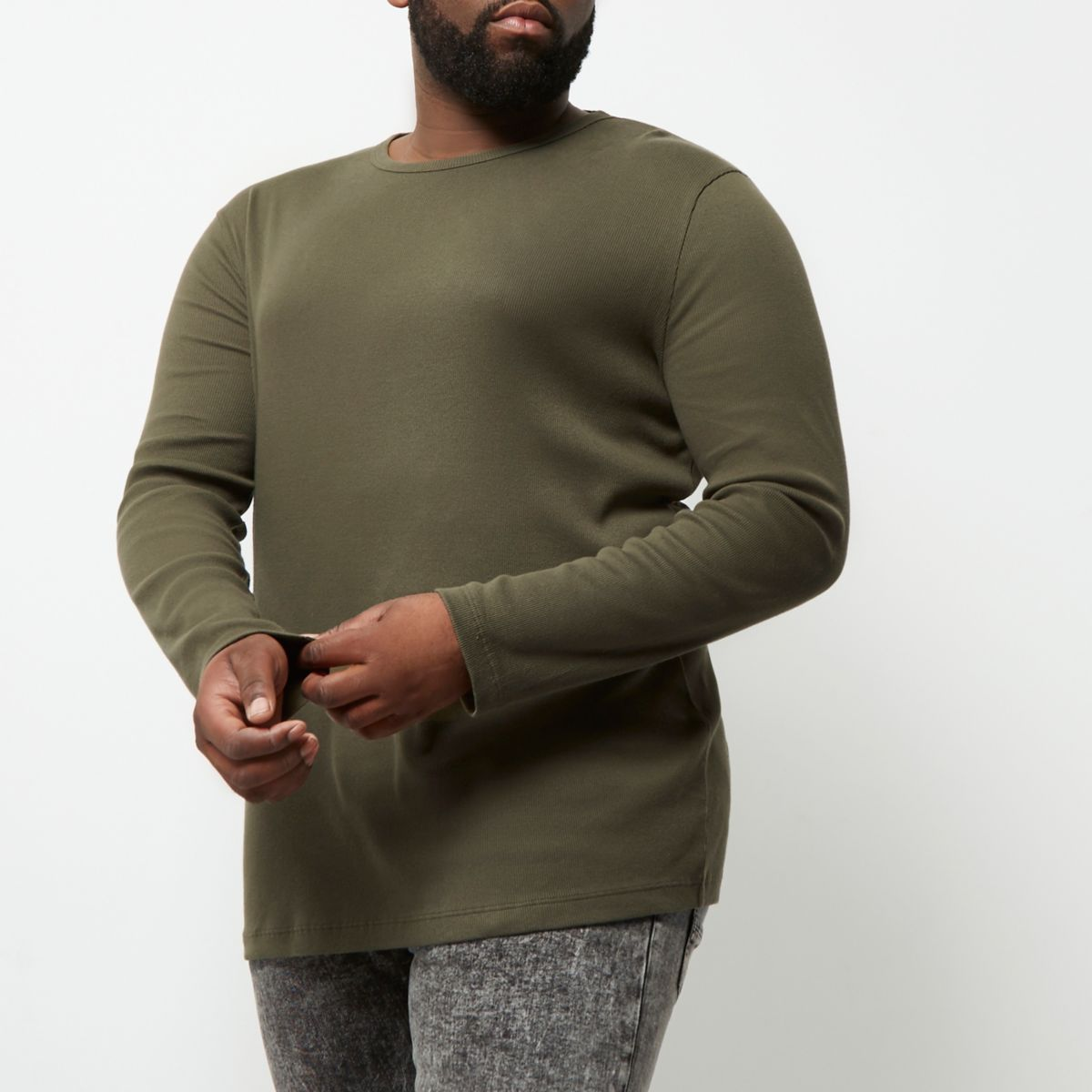 RI Big and Tall - Groen T-shirt met lange mouwen