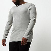 Big and Tall grey long sleeve T-shirt
