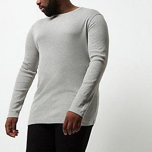 Big & Tall – Graues, langärmliges T-Shirt