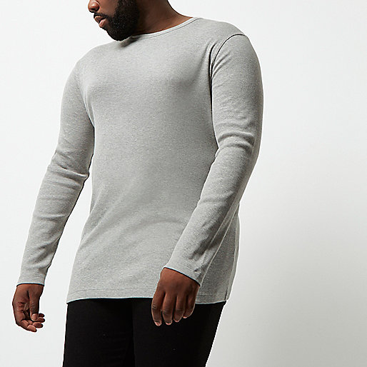 Big and Tall grey long sleeve T-shirt