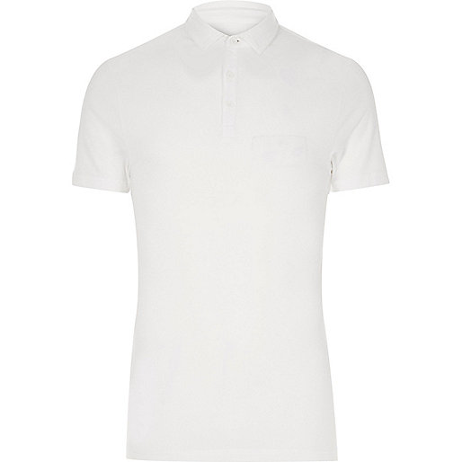 Big and Tall white muscle fit polo shirt